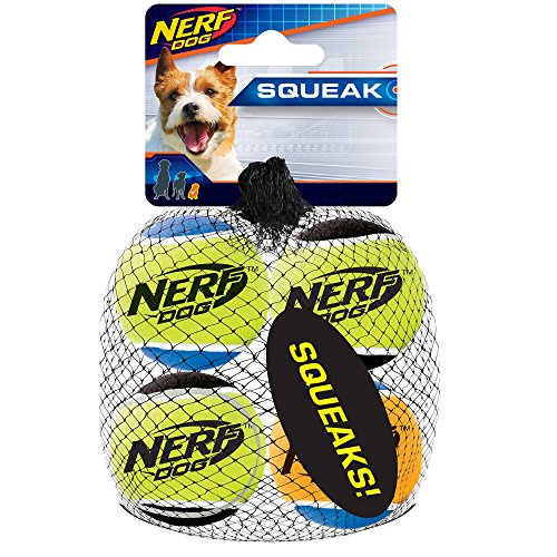 Nerf Dog Tennis Ball Dog Toys with Interactive Squeaker Lightweight Durable and Water Resistant 175 Inches For Small Breeds Four Pack Mixed Colors