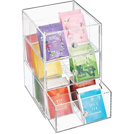 mDesign Organizador de cocina con 3 cajones de plástico – Mini cajonera para infusiones, bolsas de té, sobres de café, azúcar, etc. – Caja de té en plástico – transparente