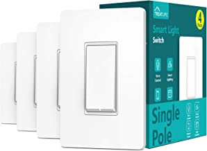 Single Pole Treatlife Smart Light Switch (Neutral Wire Required), 2.4Ghz Wi-Fi Light Switch, Works with Alexa and Google Assistant, Schedule, Remote Control, Single Pole, ETL Listed (4 PACK)