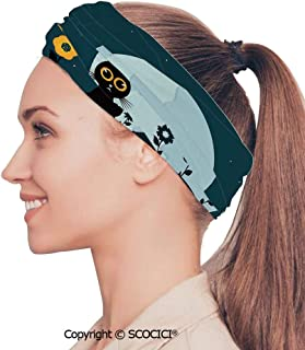 Stretch Soft and Comfortable W9.4xL18.9in Headscarf Headbands Scene of a Clean Big Sea Wave Moving Against Strong Wind, Perfect for Running, Working Out, Yoga, Exercise & Fitness, Gym, Volle