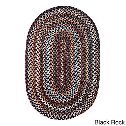 Rhody Rug Augusta Space-Dye Wool Braided Rug Black Rock 2' x 3' Oval Wool 2' x 3' Accent, Indoor Beige Oval