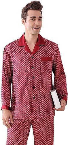 GOUDAN Ensemble de Pyjama en Soie Pure pour Hommes, Pyjama de vêteHommests de Nuit Longs, male léger en Soie Mulberry,rouge,L