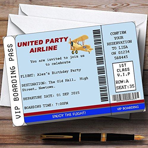 10 x Uitnodigingen Blauw VIP Vliegtuig Boarding Pass Ticket Thema Gepersonaliseerde Verjaardagspartij nodigt elke bewoording uit