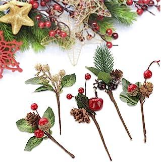 Sureh - 20 mini palillos de pino artificial con diseño de bayas rojas y hojas verdes para decoración de árbol de Navidad, corona de flores, manualidades, tarjetas de felicitación, flores