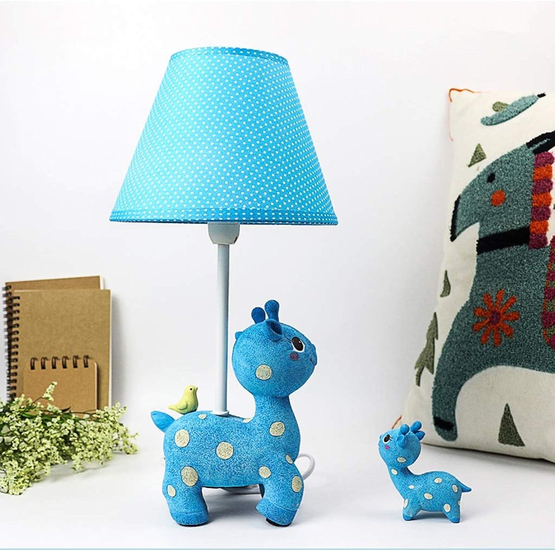 WZJ-TISCHLEUCHTE Schlafzimmer-Nachttisch-Lampen-Romantisches warmes Kinderzimmer-Nette Rotwild-Karikatur-Tischleuchte (Farbe   Blau, Gre   Push Button Switch)