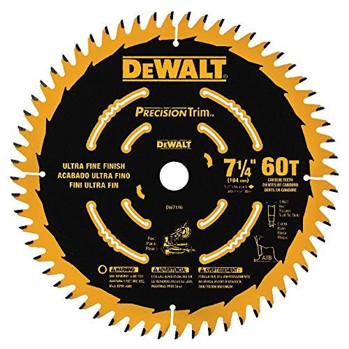 "DEWALT DW7116PT DEWALT DW7116PT 60T Precision Trim Miter Saw Blade, 7-1/4"""