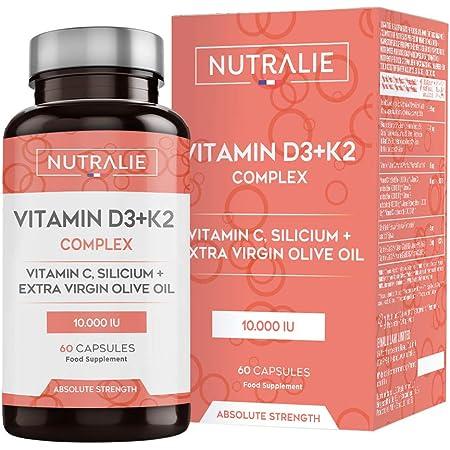 Vitamina D3 10.000 UI + K2 MK7 Alta Dosis   Contribuye al Sistema Inmunitario, Huesos y Músculos con Vitamina D3, K2, C, Silicio y Aceite de Oliva Virgen Extra   60 cápsulas Nutralie