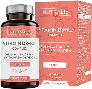 Vitamina D3 10.000 UI + K2 MK7 Alta Dosis   Contribuye al Sistema Inmunitario, Huesos y Músculos...