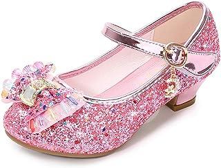 Lazzon Fille Ballerine Chaussures à Talon Enfant Sandales de Princesse avec Paillettes pour Déguisement Noël Cosplay