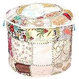 Stylo Culture Otomano Puff Asiento otomano Cubierta Grande Blanco étnico Bordado Patchwork algodón Tradicional Redondo puf otomano Tela Cubierta (22x22x13 pulg) 55cm