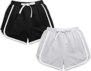 Greatchy 2 Pack Girls Athletic Shorts Summer Cotton French Terry Workout Active Dolphin Beach Gym Shorts