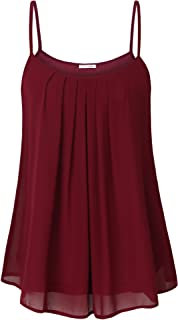 Messic Women's Summer Cool Casual Sleeveless Pleated Chiffon Layered Cami Tank Top