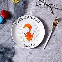 ShiSyan プレート クリエイティブ北欧のステーキプレート漫画かわいい朝食プレートフルーツケーキデザートパスタ料理活気のあるフォックス8インチ 電子レンジ・食洗機対応