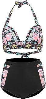 Women High Waisted Bikini Set Printed/Solid Swimsuit Tummy Control Bikini Bathing Suits Two Piece Swimwear Set