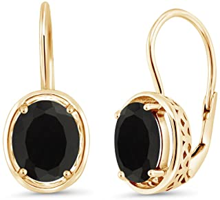 Gem Stone King Black Onyx 18K Yellow Gold Plated Silver Dangle Earrings, 4.00 Ct Oval 9X7MM