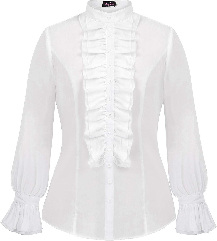 Hanna Nikole Women Plus Size Victorian Gothic Ruffled Lotus Shirt Blouse Tops
