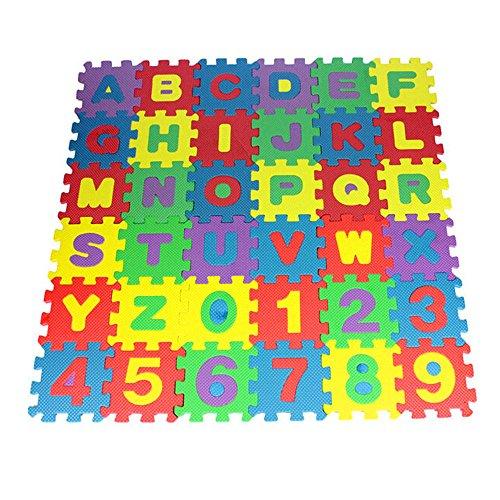 36pcs Schaum Spielmatte Alphabet Nummer Puzzle für Kinder Lernspielzeug,ABC Karteikarten Mini Krabbel Schaum Matte,Wiederverwendbar Zahlen Buchstaben Puzzleteppich (Blau)