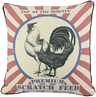JuniperLab Farmhouse Pillows Shabby Chic Primitives Feed Sack Chickens Throw Pillow Covers 16'' French Style