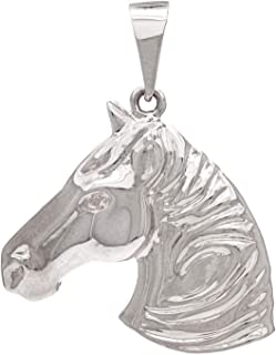 14k White Gold High-Polish Horse Head Profile Charm Pendant