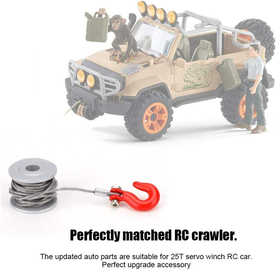 RC Car Accessory 25T Servo Winch Roller Silver Red Aluminum Alloy RC Crawler Winch Accesorios de actualizaci/ón Tbest 25T Servo Winch
