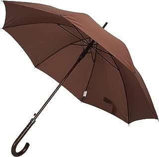 Deluxe Automatic Open Wood Handle & Shaft Umbrella (Brown)