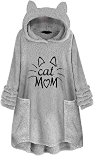Lady Letter Print Sweater Women Fleece Embroidery Cat Ear Fashion Plus Size Hoodie Pocket Top Attractive Blouse