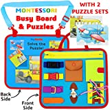 Toddler Busy Board Montessori Sensory Toys for Toddlers 1-3 1-4 Year Old boy Girl Travel Activity Learning Boards Motor Skill Baby Buckle Toy Snaps lace School Bus Airplane Puzzles Gifts by ToyTastic