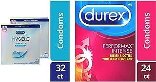 Condoms, Ultra Thin Lubricated Natural Latex, Durex Invisible Condoms, 32 Count, Durex's Thinnest Condom for Men and Performax Intense Natural Latex Condoms, 24 Count