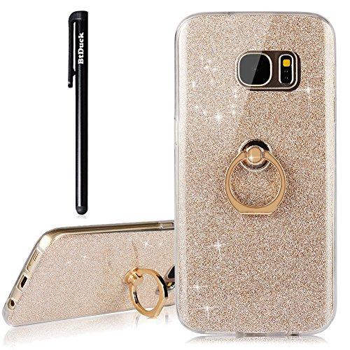 BtDuck Samsung Galaxy S7 Hülle Silikon Transparent Slim mit Ring Handyhülle Glitzer Papier 2 in 1 Schutzhülle Metall Ring Stand Ständer Bumper Case Smartphone Halter Ständer Ringhalter