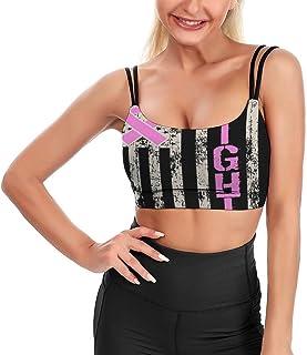 Cyloten Women's Sport Tank Top American Flag Pink Yoga Sport Tops Bra Padded Cup Gym Shirts -