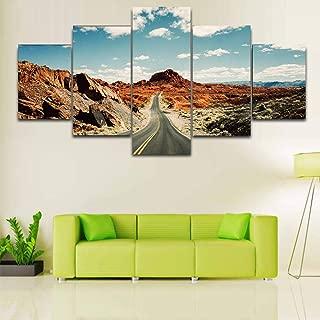woplmh 5 pièces Photos HD peintures sur Toile Route Sous ciel Blanc et bleu peintures murales d'art Moderne modulaire-40x60cmx2 40x80cmx2 40x100cmx1 / sans Cadre