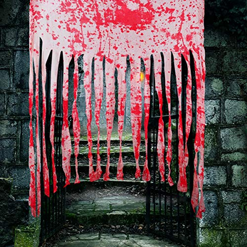 2 Pack Door Curtain Decoration with Bloody Prints Bloody Halloween Doorway Curtain Creepy Cloth Haunted House Horror…