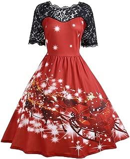 Women's Vintage Christmas Santa Print Short Sleeve Lace Retro A-Line Party Swing Dress