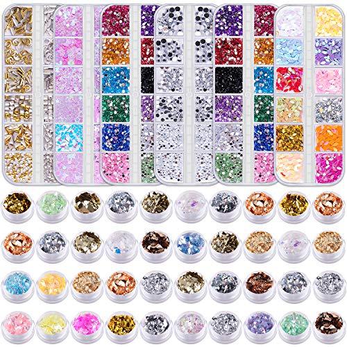 Duufin 6 Boîtes Strass pour Ongles Diamants et 40 Bouteilles Feuille Ongles Nail Art pour Décoration des Ongles