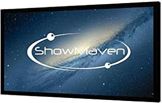 ShowMaven 120 inch Fixed Frame Projector Screen, Diagonal 16:9, Active 3D 4K Ultra HD Projector Screen for Home Theater or Office