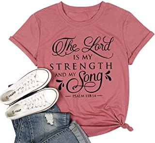 UNIQUEONE The Lord is My Strength and My Song Christian T-Shirt Woomen Short Sleeve Funny Casual Tee Blouse