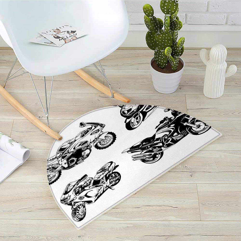 Motorcycle Half Round Door mats Cartoon Motorbike Speed Race Exciting Sport Hobby Lifestyle on The Roads Print Bathroom Mat H 31.5  xD 47.2  orange Black