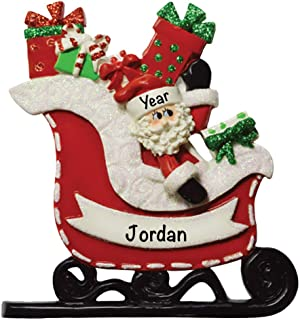 Santa Gift Sleigh Personalized Ornament - (Unique Christmas Tree Ornament - Classic Decor for A Holiday Party - Custom Decorations for Family Kids Baby Military Sports Or Pets)