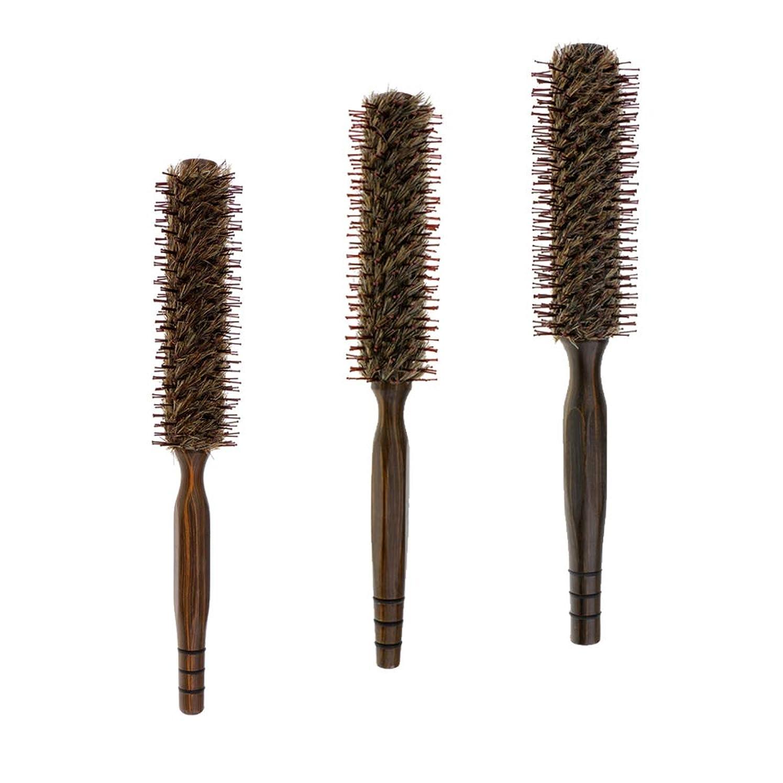 黄ばむ自動欠如B Baosity 3本 ヘアブラシ 木製櫛 ロールブラシ プロ 美容師 ヘアサロン 自宅用