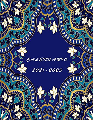 Calendario 2021-2025: Agenda anual 2021-2025, Agenda Mensual + Organizador, Tamaño 21x28 cm, dos páginas por mes