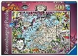 Ravensburger Puzzle 500 Piezas, Ilustración Mapa Europeo, Puzzle Adultos, Puzzle Mapamundi, Rompecabezas Ravensburger de Alta Calidad