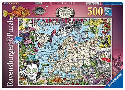 Ravensburger 16760 Europakarte, witzige Zirkus, 500 Teile Puzzle für Erwachsene & Kinder ab 10 Jahren