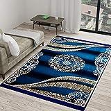 Vram Floral Carpet (Sky Blue, Velvet, 5 x 7 ft)
