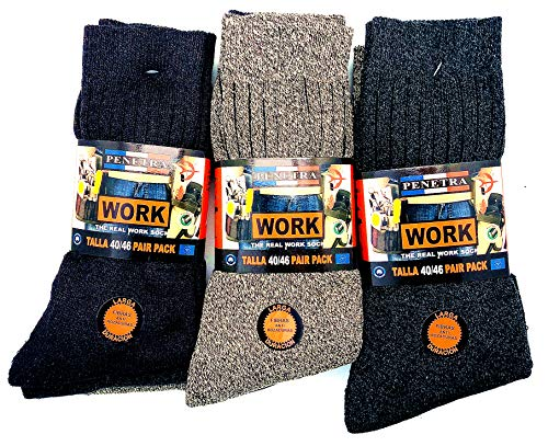 Penetra Moda 12 pares Calcetines de trabajo seguridad, larga fibras anti rozaduras, ideal para el uso de seguridad y para deportes de invierno o situaciones de frío y humado (177-12pares)