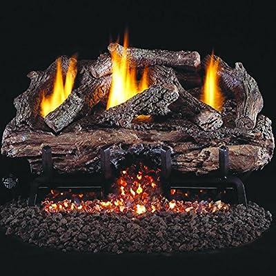 Peterson Real Fyre 24-inch Charred Aged Split Oak Log Set With Vent-free Natural Gas Ansi Certified G10 Burner - Variable Flame Remote