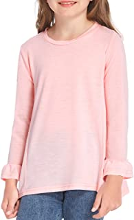 Leaduty Girls Flared Long Sleeve Shirts Casual Loose Ruffle Top Tees Kids Outfits Blouse for 4-13 Years