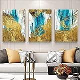 SXXRZA Impresión de Lienzo 3 Piezas 60x80 cm sin Marco Abstracto Azul Dorado Lienzo póster Arte de Pared Imagen de Pared Moderna para Sala de Estar decoración del hogar póster