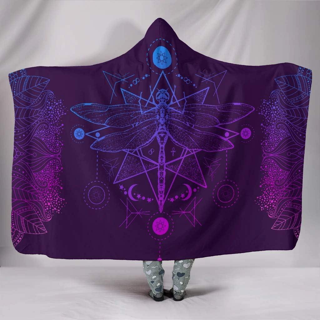 Purple Chakra Dragonfly Max 42% OFF Hooded Cheap Sherpa Plush Blanket Premium