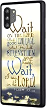 Galaxy Note 10 Plus/Note 10 Plus 5G Case, Bible Verse Quotes Psalm 27:14 Design Slim Impact Resistant Rubber Plustective Cover for Samsung Galaxy Note 10 Plus (2019)