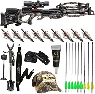 TenPoint Stealth NXT 410 FPS Crossbow ACUdraw 50 Sled Deluxe Hunter's Bundle with Pro-View 2 Scope, Shooting Stick, Quiver, 9 Arrows with NAP Broadheads, Sling, Hat, Rail Lube (9 Items)